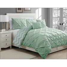 Germain Pinch Pleat 5 Piece Reversible Duvet Cover Set