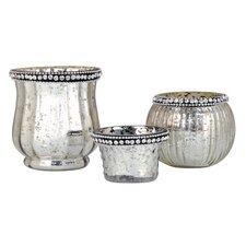 3 Piece Glass Antique Silver Votive Set