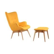 Huggy Mid Century Arm Chair & Ottoman Set