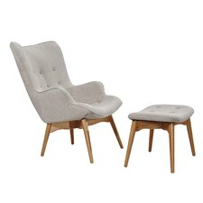 Huggy Mid Century Arm Chair & Ottoman Set