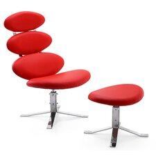 Corona Leather Chair and Ottoman Set