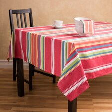 Sunset-Striped Rectangular Cotton Tablecloth