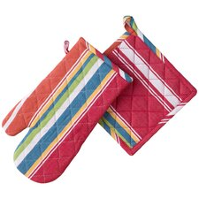 Striped Print Oven Mitt & Pot Holder Set