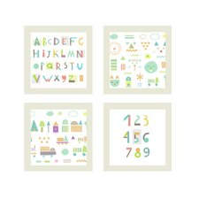 ABC's and Numbers 4 Piece Wall Art Set