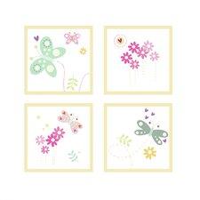 Flowers and Butterflies 4 Piece Wall Art Set