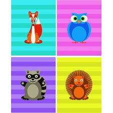 4 Piece Cheerful Woodland Creatures Paper Print Set