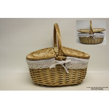 Oval Cover Willow Picnic Basket with Cloth Lining