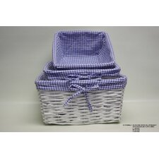 3 Piece Square Willow Basket with Cloth Lining Set