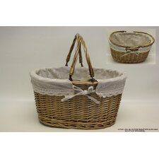Oval Willow Picnic Basket with Cloth Lining