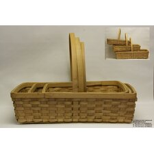 3 Piece Rectangle Woodchip Basket Set