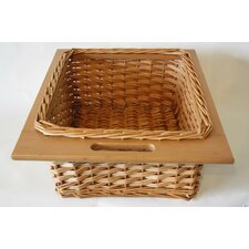 Willow Basket with Wood Edge