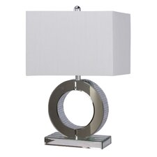 """Mirror Circle Glass and Metal 23"""" H Table Lamp with Rectangular Shade"""