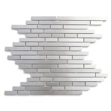 Random Sized Stainless Steel Mosaic Tile in Silver Snow