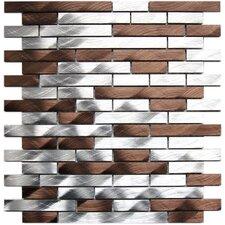 Random Sized Aluminum Mosaic Tile in Silver/Chocolate