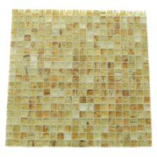 """Amber 0.63"""" x 0.63"""" Glass Mosaic Tile in Brushed Gold"""