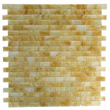 "Amber 0.63"" x 1.25"" Glass Mosaic Tile in Brushed Gold"