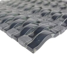 "Wave 0.63"" x 2.5"" Glass Mosaic Tile in Dark Gray"