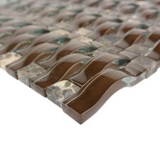 "Wave 0.63"" x 2.5"" Glass Mosaic Tile in Brown"