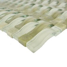 """Wave 0.63"""" x 2.5"""" Glass Mosaic Tile in Green"""
