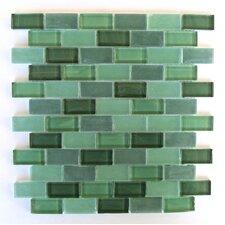"Free Flow 1"" x 2"" Glass Mosaic Tile in Dark Green"
