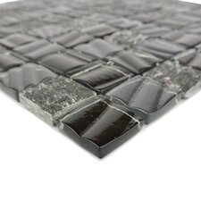 "New Era II 1.25"" x 1.25"" Glass and Slate Mosaic Tile in Black Hole"