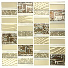 Imperial Random Sized Glass and Aluminum Mosaic Tile in Brushed Gold