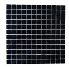 "Metro 1"" x 1"" Glass Mosaic Tile in Black"