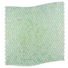 "Galaxy Wavy 0.31"" x 0.31"" Glass Mosaic Tile in Green"