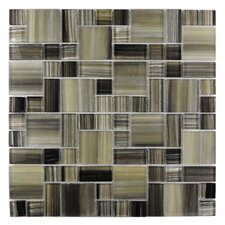 Handicraft II Random Sized Glass Mosaic Tile in Black Sea