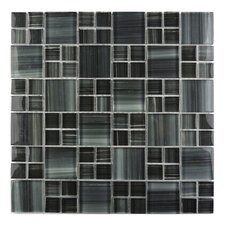 Handicraft II Random Sized Glass Mosaic Tile in Dark Gray Mix