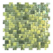 Classic Recycled Random Sized Glass Mosaic Tile in Green Mix