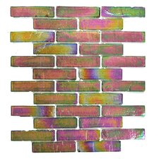 """Bamboo 1"""" x 4"""" Glass Mosaic Tile in Green Pink"""
