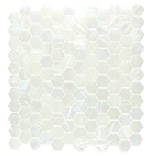 "Hexagon 11.33"" x 10.75"" Glass Mosaic Tile in White Pearl Diamond"