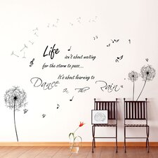 Dandelion Dance In Rain Quote with Butterflies Wall Sticker