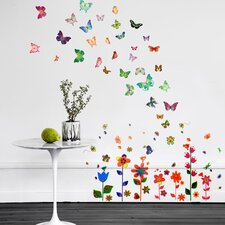 Paper Art Colourful Flowers and Butterflies Room Wall Sticker