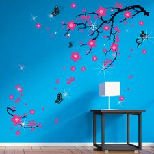 Wandsticker Swarovski with Pink Blossom Flowers