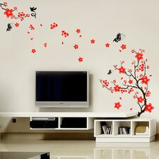 Red Blossom Flowers Wall Sticker