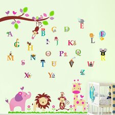 Wandsticker Pink Elephant with Alphabets