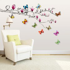 Magnolia Flower with 3D Colourful Shinning Butterflies Wall Sticker