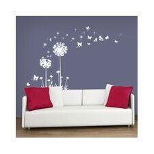 White Dandelion with Butterflies Wall Sticker
