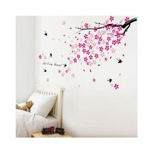 Swallow Birds and Pink Flowers Art Wall Sticker