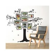 Black Photo Frame Tree with Birdcage Wall Sticker