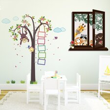 Wandsticker-Set Monkey Height Measure with Window View of Animal Friends