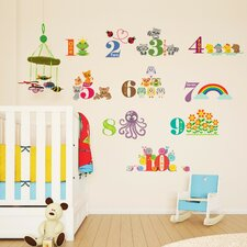 Children Home Animals Numbering Wall Sticker