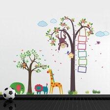 Wandsticker-Set Monkey Height Measure with Animals Tree