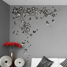 Swarovski with Butterflies Vine Wall Sticker Set