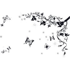 Swarovski Black Butterfly Vine Art Wall Sticker