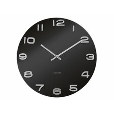 "Vintage 14"" Black Glass Wall Clock"