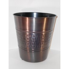 """3 Gal Rain Hammered with Beaded Accent 10"""" Round Tonal Bronze Steel Wastebasket"""