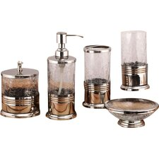 Trident 5 Piece Crackle Glass Bathroom Accessory Set
